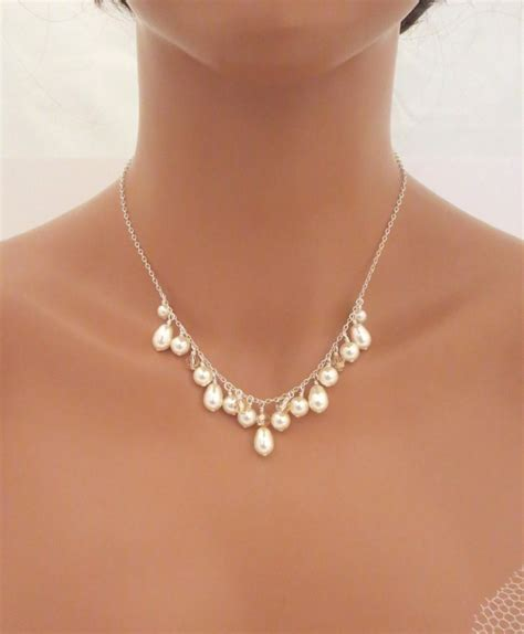 simple jewelry pearl bridal necklace simple wedding necklace wedding