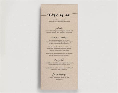 wedding dinner menu printable instant download