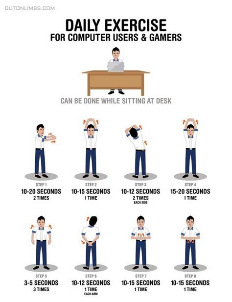 computer and desk stretches daily exercises for computer users and gamers
