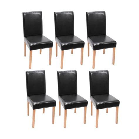 lot de 6 chaises de salle 224 manger simili cuir noir pieds