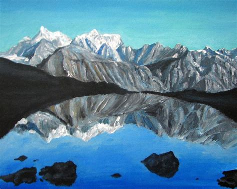 acrylic painting mountains mountains landscape acrylic painting painting by natalja