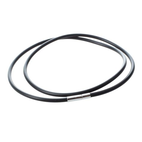 rubber cord for jewelry 3mm black rubber cord necklace with stainless steel