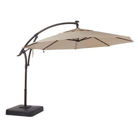 patio offset umbrella hton bay 11 ft led offset patio umbrella in sunbrella