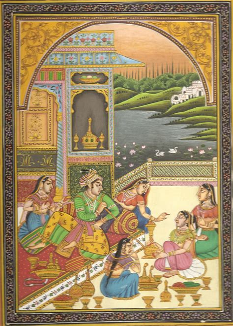 indian painting pictures mughal harem court miniature painting handmade