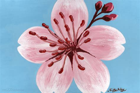acrylic painting cherry blossom ruby cherry blossom poster print pink and blue cherry