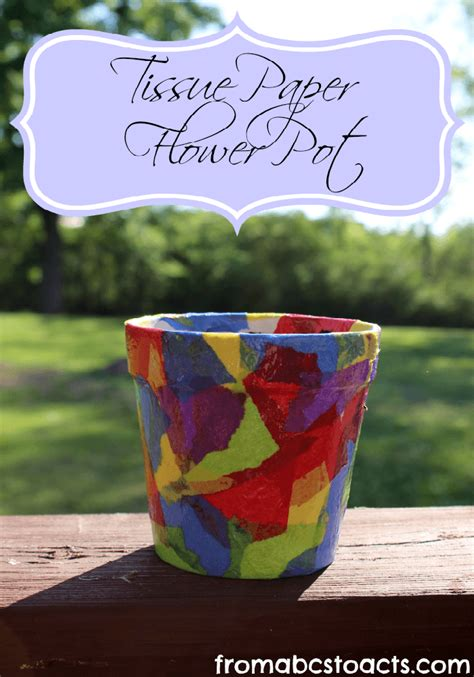 flower pot kid craft tissue paper flowers craft kits images