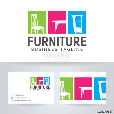 quot furniture vector logo with business card template quot stock