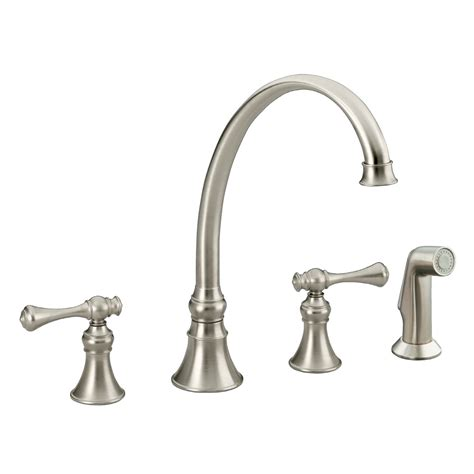 nickel faucets kitchen shop kohler revival vibrant brushed nickel 2 handle high arc kitchen faucet at lowes