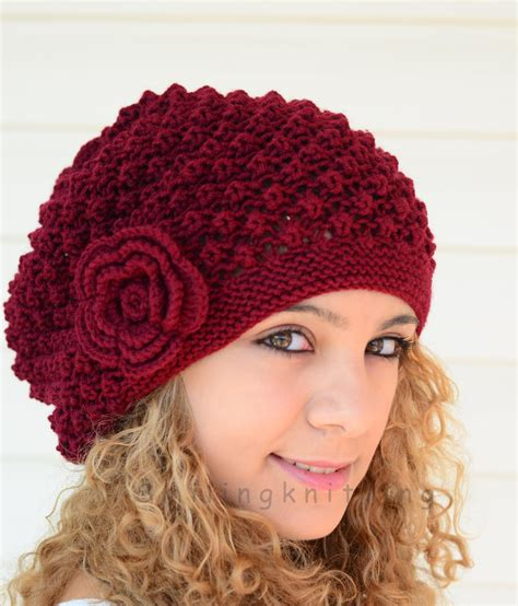 knitted hats for knitted hat burgundy knit hatslouchy hat beret