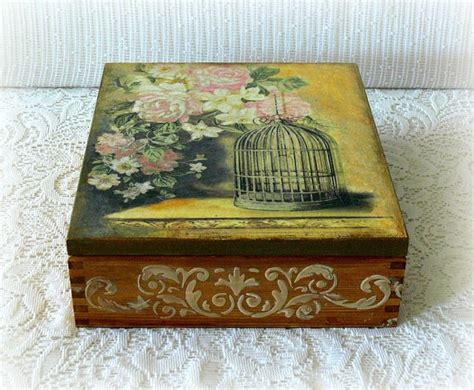decoupage on wooden boxes wooden decoupage box large tea box jewelry box wooden tea