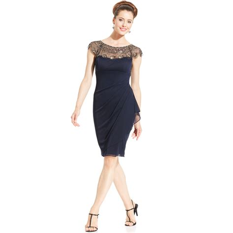 beaded sleeve dress xscape cap sleeve illusion beaded dress in blue lyst