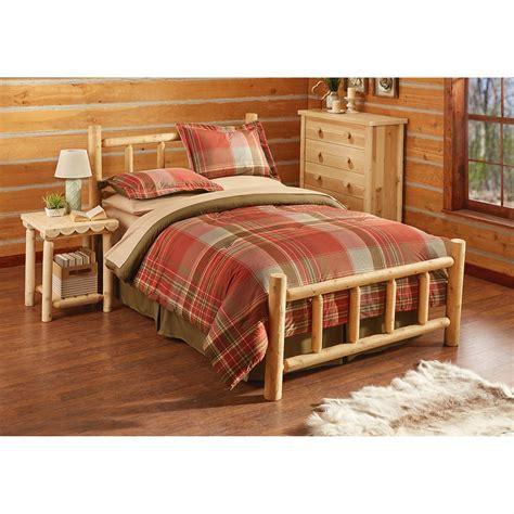 log bed set castlecreek cedar log bed 235869 bedroom sets at