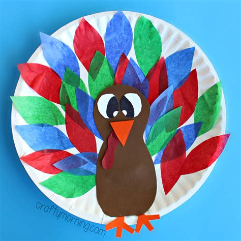 thanksgiving paper plate turkey craft paper plate turkey craft using tissue paper crafty morning