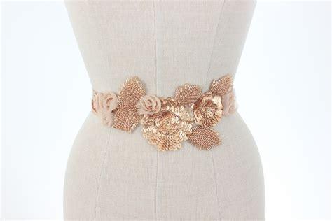 beaded sash gold wedding belt beaded bridal sash floral vine leaf