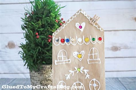 paper bag gingerbread house craft brown paper bag gingerbread house glued to my crafts