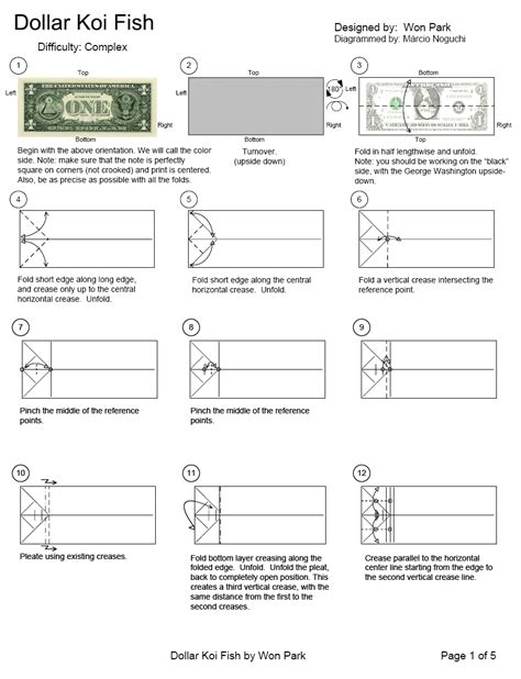 origami koi diagram dollar koi fish page1 money origami koi