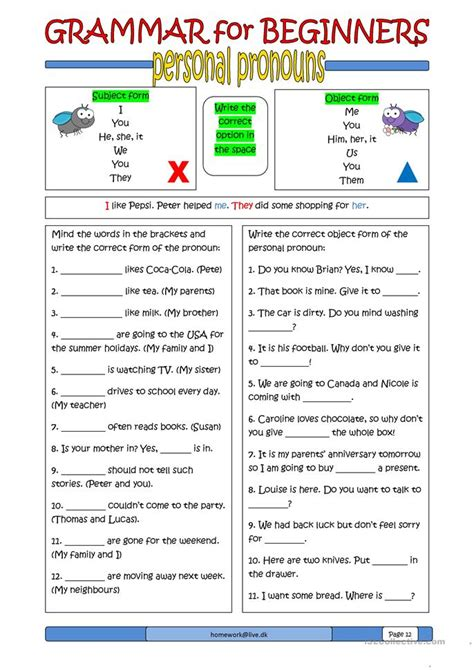for beginners grammar for beginners personal pronouns worksheet free