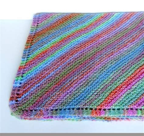 knitting stripes in the knit baby blanket in diagonal stripes multi colored