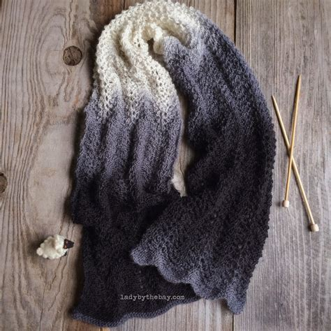 feather wool knitting patterns feather and fan knitted scarf pattern by the bay