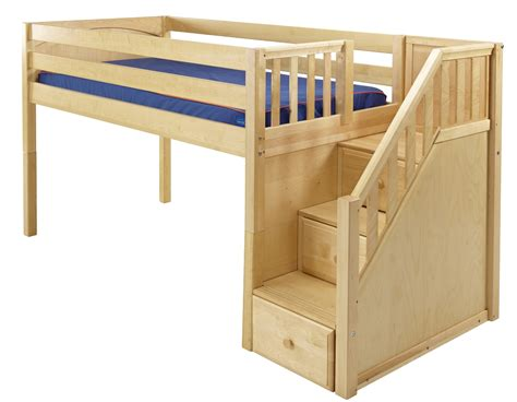 low bunk beds with stairs maxtrixonline low loft bed with stairs steps