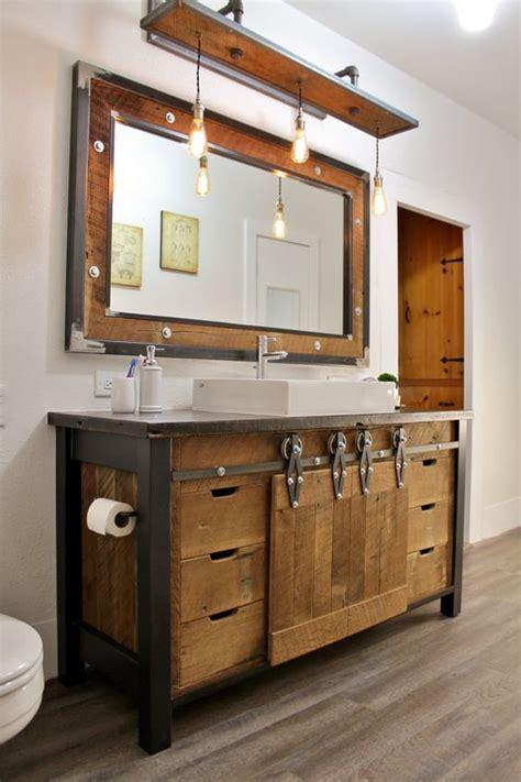 rustic wood bathroom vanity 32 trendy and chic industrial bathroom vanity ideas digsdigs