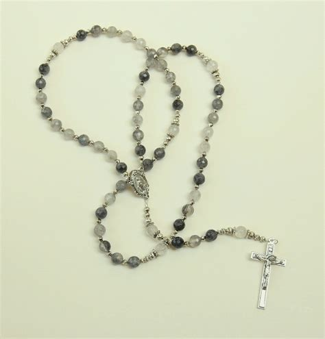 catholic rosary gray quartz rosary