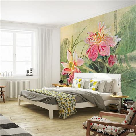 Cheap Wall Murals Wallpaper vintage lotus painting photo wallpaper 3d flower wall