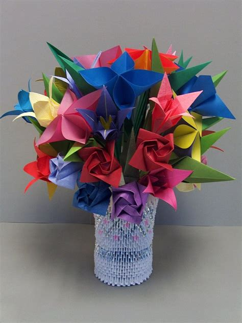 3d flower origami 3d origami flowers in vase 2 by sabrinayen on deviantart