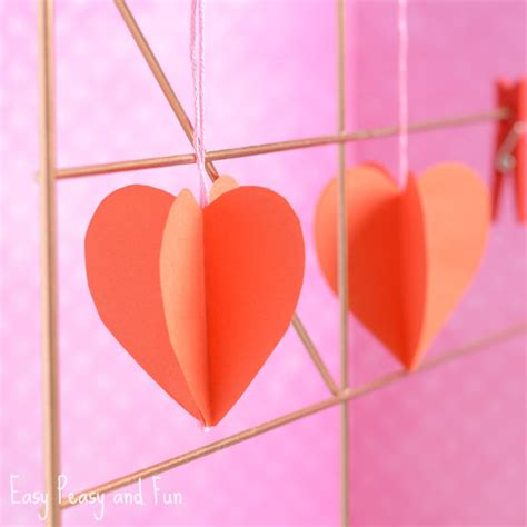 paper hearts craft 3d paper craft easy peasy and