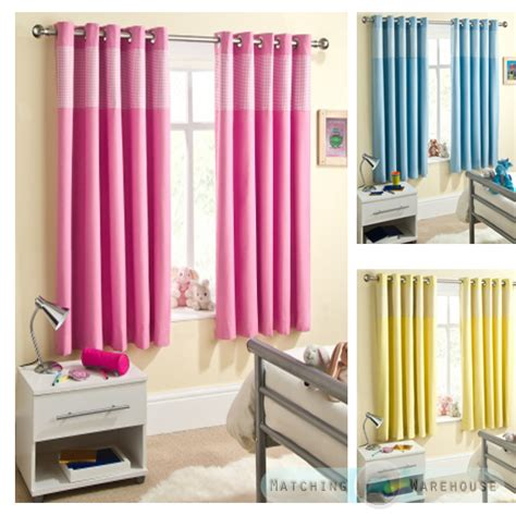 pink nursery curtains childrens gingham curtain thermal blockout eyelet ring top