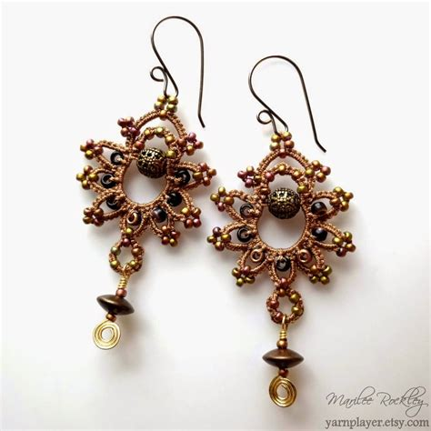earrings with yarnplayer s tatting mixed media earrings tatting
