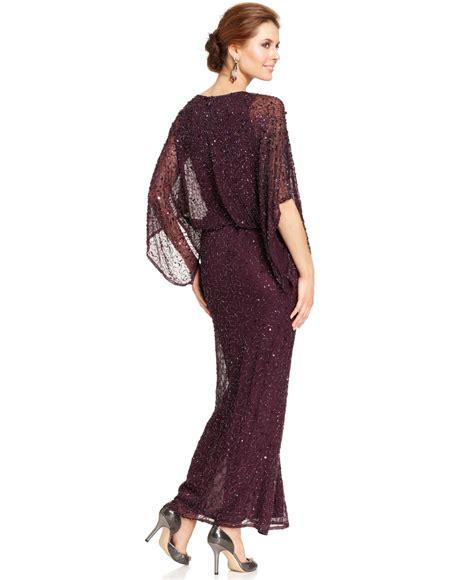 patra plus size kimono sleeve beaded dress patra kimono sleeve beaded blouson gown in purple lyst