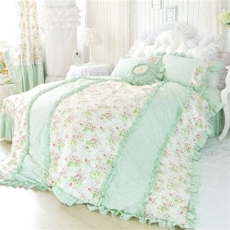 light green comforter set pale green ruffles with tea roses made for a princess