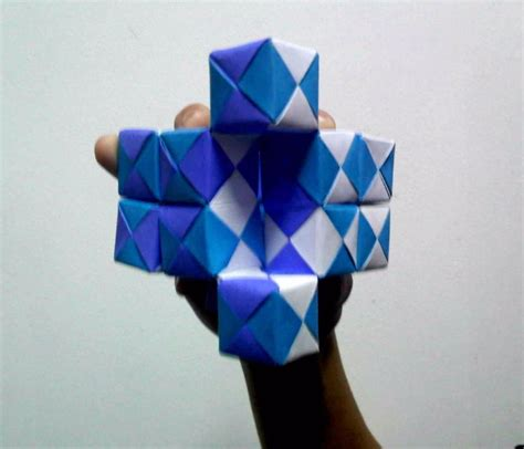 origami moving moving sonobe cubes 2 pressed angled view by