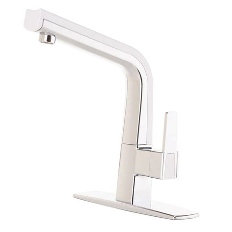 white kitchen faucets cleanflo matisse single handle standard kitchen faucet in chrome and white 88809 20 the home depot