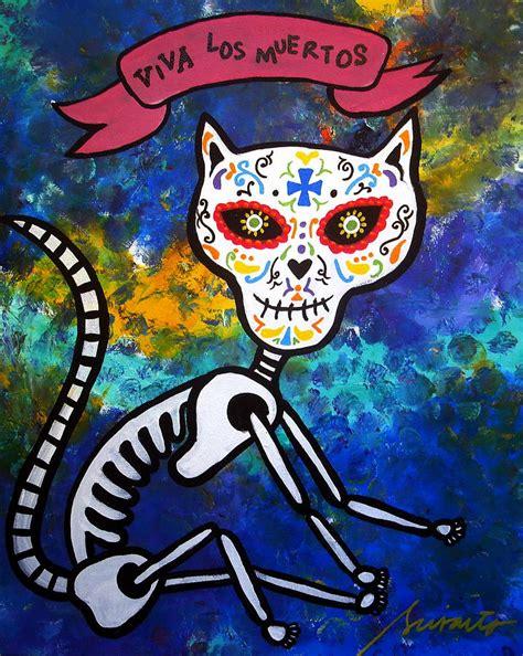 cat painting viva viva los muertos cat painting by pristine cartera turkus