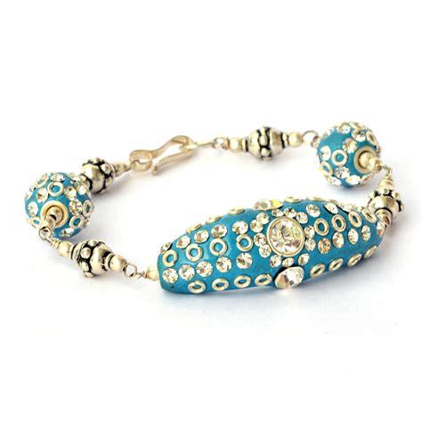 handmade bead bracelets handmade bracelet blue with white rhinestones