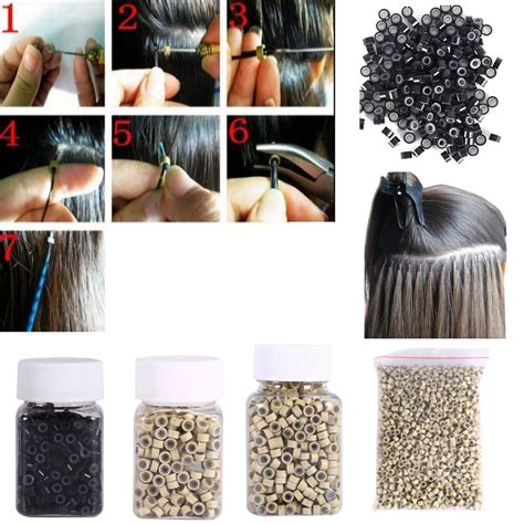 silicone hair extension 1000 2000 silicone lined nano micro rings links