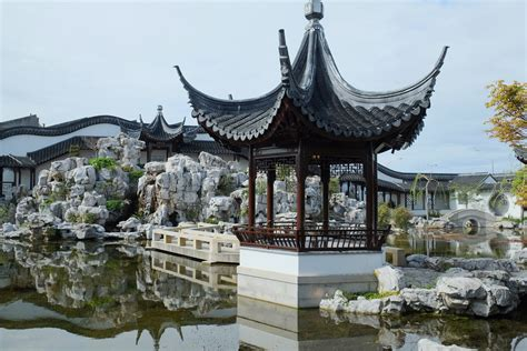 china garden rock file of the lake pavilion and rock mountain in