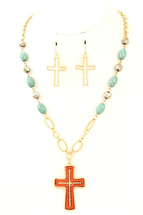 bead cross necklace beaded cross pendant necklace set necklaces