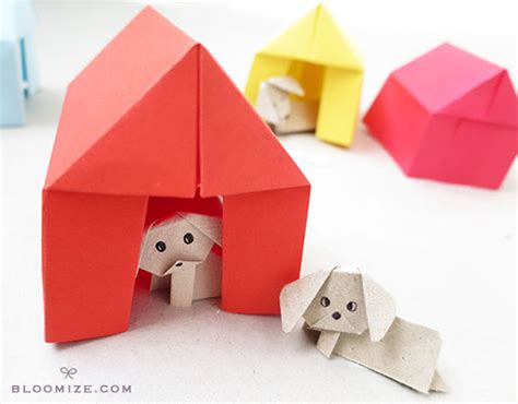 origami barn a litter of paper pups and their kennels bloomize
