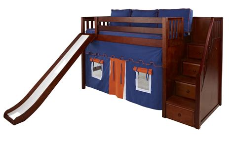 bunk beds with stairs and slide maxtrix mid loft bed w staircase on end slide