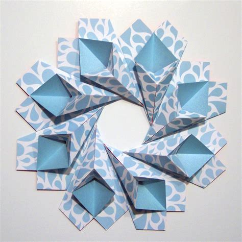 origami wreath blue teardrop origami wreath original modular origami