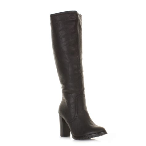 leather knee high boots for womens block heel knee high black leather style boots size 3 8 ebay