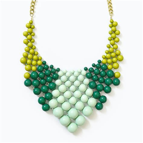 beaded necklace color block bib chunky beaded necklace with green mint