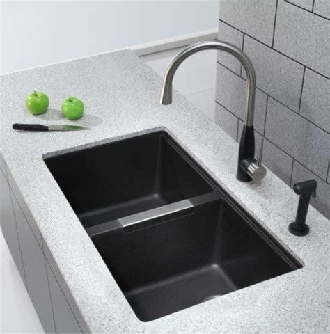 kraus kitchen sinks undermount kraus 33 inch undermount 50 50 bowl black onyx