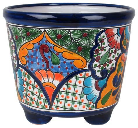 mexican pottery planters large mexican talavera footed planter rustic home