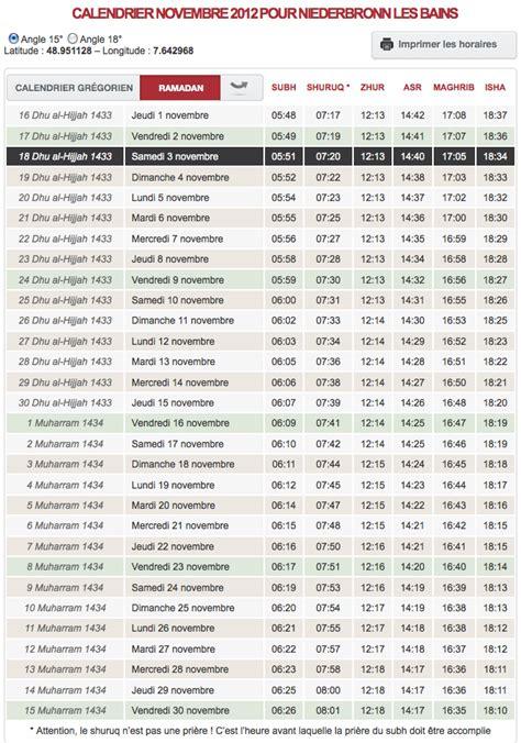 horaire de pri 232 re votre calendrier du mois de novembre