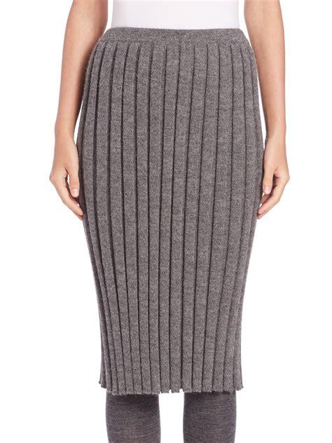 A Detacher Rib Knit Pencil Skirt In Gray Lyst