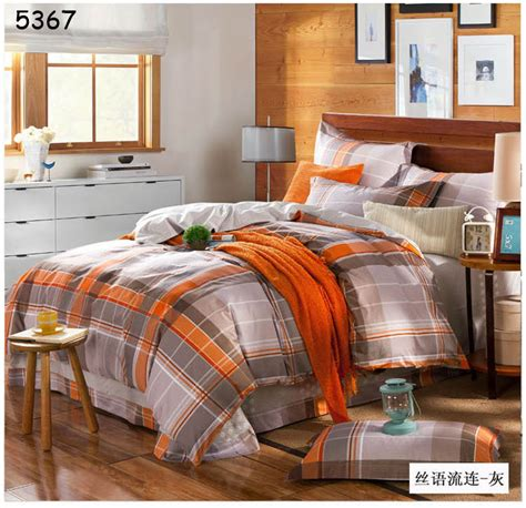 gray and orange comforter set aliexpress buy grey orange plaids bedding set 4pcs